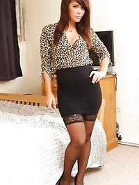 Laura P in leopardprint silk & black skirt