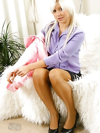 Pretty in pink & purple, Porscha puts our big white furry..