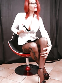 Secretary Nadja in Black Nylons and sexy high heels