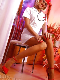 Horny nurse shows long legs in stockings and heels