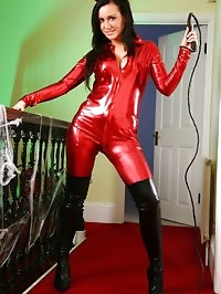 Dark haired Jenna in a skin tight, red catsuit and thigh..