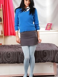 Cute Sam in her blue school uniform