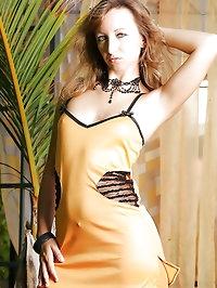 Hottie wears orange lycra