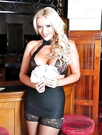 Dirty blonde barmaid Lucy Zara makes plenty of tips..