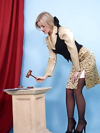 Pretty blonde finds all her clothes being auctioned away.