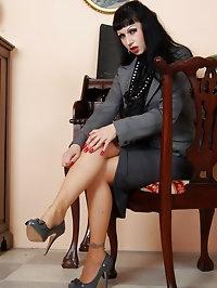 busty vintage secretary in stockings