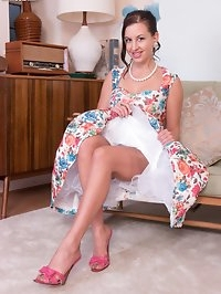 So retro in the floral 50s style full frock, lacy..