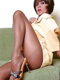 Crazy-long and sexy MILF legs in hot brown pantyhose