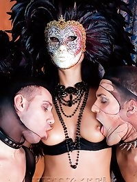 Amazing lady in a mask fucked by two guys in fishnet uniform