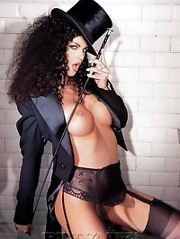 Beautiful curly hair beauty in really hardcore fetish games