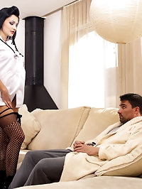 Slutty nurse at home gives very good blowjob to a sick guy