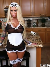 Busty blonde maid Lolly Ink receives a creampie in the..