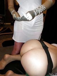 Nylon Jane in stockings and long satin gloves dominates..