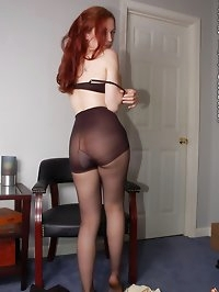 Beauty loves black pantyhose with stilettos