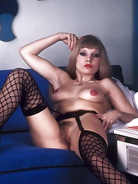 Naughty lady from the seventies enjoys cock