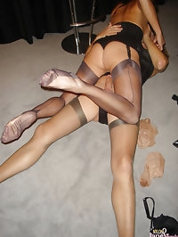 Jane in sexy nylons sucking some Tgirl cock