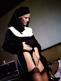 Sexy nuns in stockings get nasty with a dildo