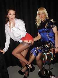 Jane and Tgirl in beautiful chinese dresses posing