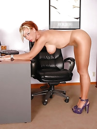 Charming executive with sexy heels and pantyhose
