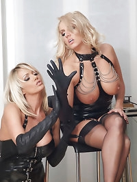 These leather glove loving sluts cant keep their hands off..