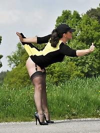 Sporty girl looks wonderful outdoors