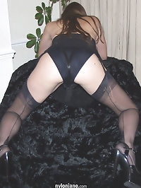 See through negligee and black stockings cover Jane
