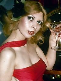 Classy raunchy woman in red dress fucks guy