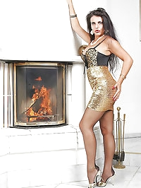 Long legs covered with stockings