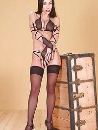 Hot Mya Diamond poses in stockings