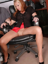 Sophisticated darling in nylon and high heels