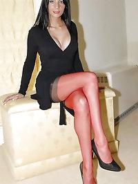 Beauty wears red stockings