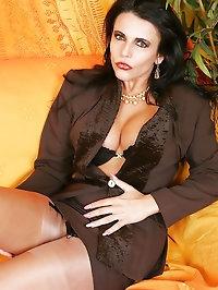 Model lady in black stockings