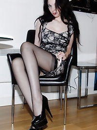 Lady amazes in her black lingerie
