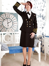 Busty flight attendant gives in to her lustful desires