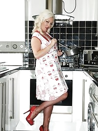 big boobs blonde fun in kitchen