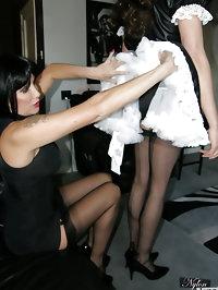 Slutty crossdressing maid gets spanked by sexy Nylon Jane