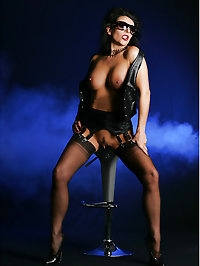 Milf Eve in Black Leather and Fully fashioned stockings