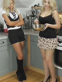 Lesbian blondes Emma-Kate Dawson and Miss Holli on the..