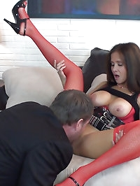 HotWifeRio in a short skirt and red sexy stockings sucking..