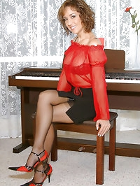 Cute and beautiful woman in red looks perfect