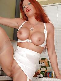 Faye Rampton - Red head on heat in the kitchen