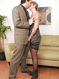 Cock hungry Anilos grandma wears heels and stockings as..