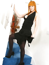 Beautiful redhead Fi in a stunning black evening dress,..