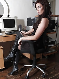 Hot office girl Louise loves flashing her pussy and ass..