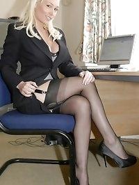 Elegant blonde in stunning suit