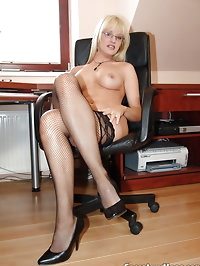 Blonde secretary Natalli fucking her boss at work