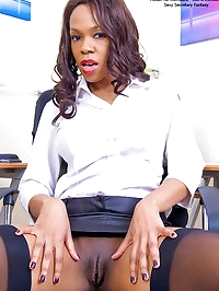 Nipply Satin Skirted Secretary Claudia Shows and Spreads..