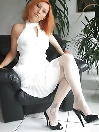 posing and flashing in white nylons