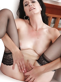 Mary-Sue spreads removes her lacey panties and spreads her..