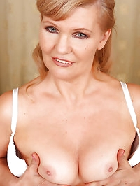 Lena F in white lace spreads her 57 year old pussy for the..